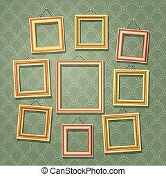 vazio, caricatura, foto formula, ligado, verde, wall., retro, armação madeira quadro, jogo, vetorial, ilustração