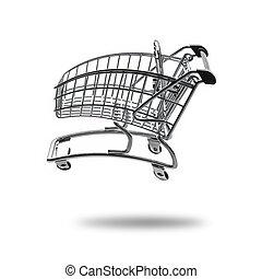 vazio, carro shopping, em, cheio, velocidade