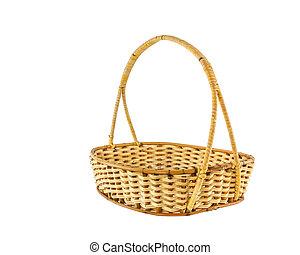 vazio, cesta feito vime, isolado, branco, fundo