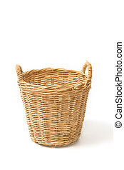 vazio, cesta feito vime, isolado