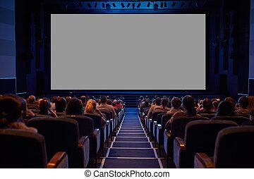 vazio, cinema, tela, com, audience.