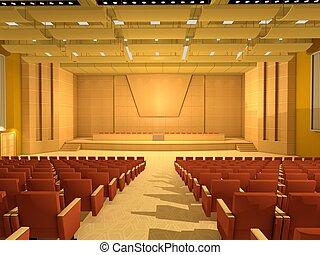 vazio, corredor conferência, ou, sala