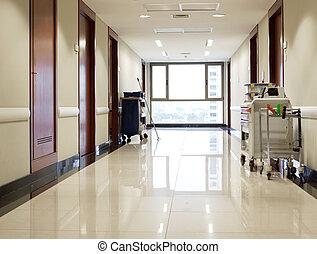 vazio, corredor, de, hospitalar