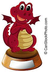 vazio, dragão, modelo, vermelho, fundo