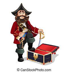 vazio, entesoure tórax, e, pirata