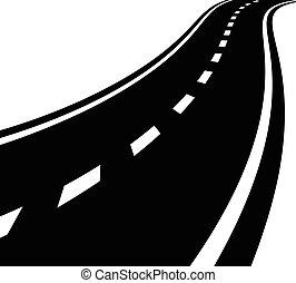 vazio, estrada, estrada, com, perspectiva, e, linhas divisor