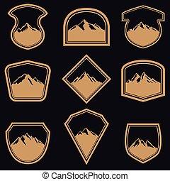 vazio, etiqueta, montanhas, emblema, dourado, emblemas, sinal., jogo, elementos, logotipo, desenho, style.