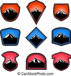 vazio, etiqueta, sinal., emblema, emblemas, jogo, montanhas., elementos, logotipo, desenho