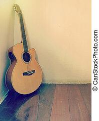 vazio, fundo, em branco, guitarra, sala