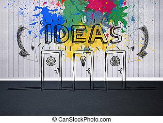 vazio, gráfico, sala, coloridos, idéia