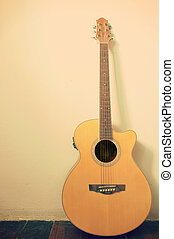 vazio, guitarra, sala, em branco