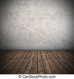 vazio, interior, com, sujo, parede