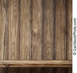 vazio, madeira, prateleira, fundo
