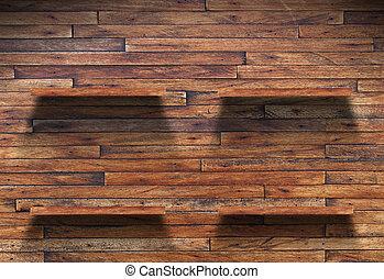 vazio, madeira, prateleira, ligado, parede madeira