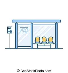 vazio, parada, transporte público