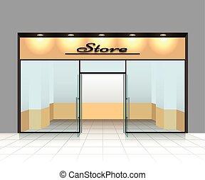 vazio, parte dianteira loja