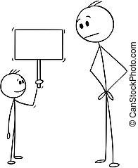vazio, pequeno, sinal, segurando, caricatura, menino, homem