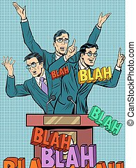 vazio, político, fala, conceito, blah