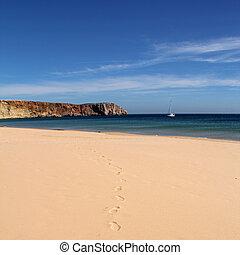 vazio, praia, com, footprints-, sagres, portugal
