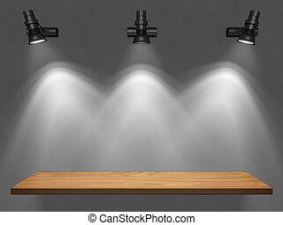 vazio, prateleira, iluminado, por, spotligh