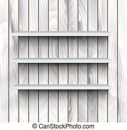 vazio, prateleiras, parede, madeira