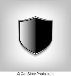 vazio, pretas, escudo