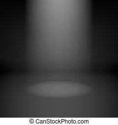 vazio, quarto escuro, com, destaque
