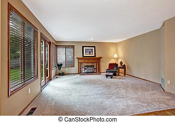 vazio, sala de estar, em, luxo, casa