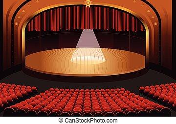 vazio, teatro, fase