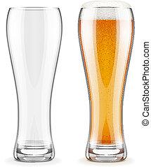 vazio, transparente, óculos, e, cheio, de, cerveja, com, branca, espuma