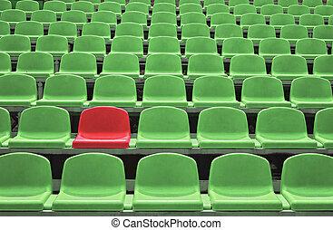 vazio, um, estádio, especiais, assentos