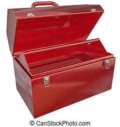 vazio, vermelho, toolbox, para, seu, cópia, ou, mensagem, em branco, copyspace