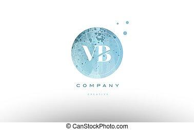 vb v b watercolor grunge vintage alphabet letter logo