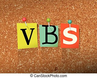 "VBS Pinned Paper Concept Illustration - The word ""VBS"" ..."