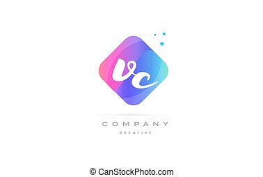 vc v c pink blue rhombus abstract 3d alphabet company letter text logo hand writting written design vector icon template