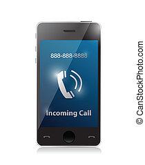 vcházející, moderní, ilustrace, telefon, call., bystrý