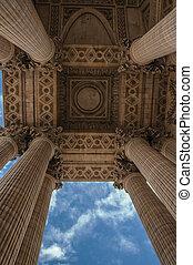 vchod, pantheon, nebe, móda, mračný, paris., neoclassical, perspektivní, jednotlivý, sloupec