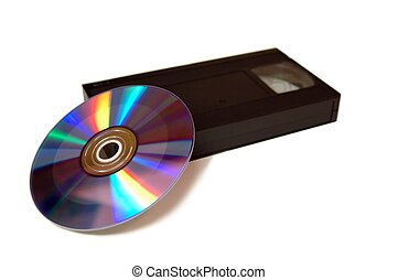 VCR tape and DVD over white
