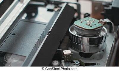 VCR VHS mechanics video cassette player insert tape head