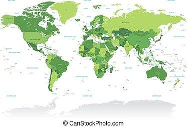 vctor, vert, planisphère