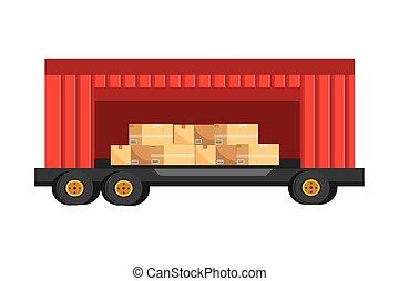 veículo carga, recipiente, caminhão, caricatura