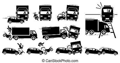 veículo, colisão, acidente estrada, icons., choque