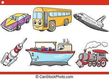 veículo, jogo, caricatura, caracters