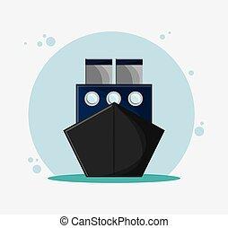 veículo, navio, vetorial, transporte, viagem