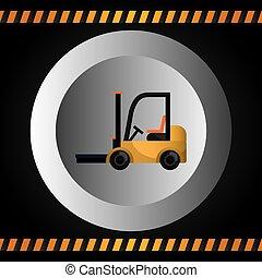 veículo pesado, maquinaria construção, ícone