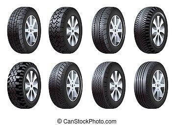 veículo, pneus, car, ícones, peças sobressalentes, isolado