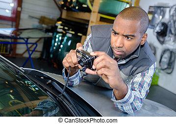 veículo, técnico, resolvendo um problema
