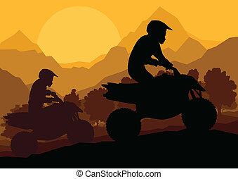 veículo terreno, quad, motocicleta, cavaleiro, vetorial,...