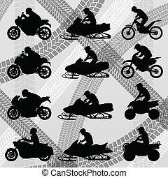 veículo terreno, quad, motocicletas, e, carruagem duna,...