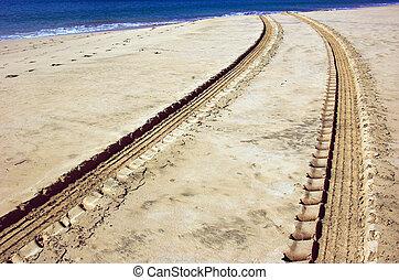 veículo, trilhas, areia, praia